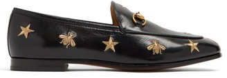Gucci Jordaan Embroidered Leather Loafers - Womens - Black Gold