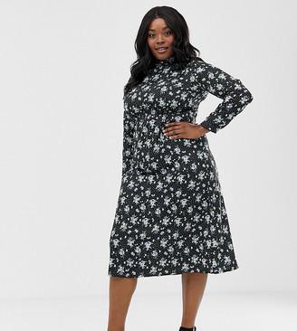 Yumi Plus floral long sleeve maxi dress-Black