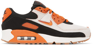 Nike White and Orange Air Max 90 Premium Sneakers