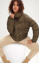 PrettyLittleThing Khaki Oversized Puffer Jacket with Button Pockets