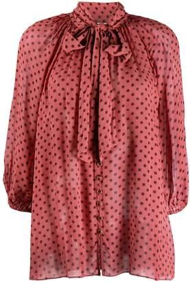 Zimmermann polka-dot flared blouse