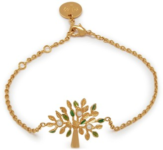 Mulberry Tree Bracelet Gold and Green Brass and Synthetic Pearl