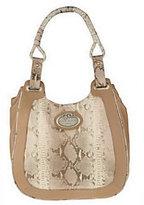 Malini Murjani Metallic Printed Python w/Nappa Leather Trim Hobo Bag
