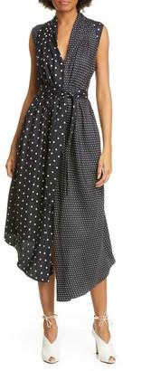 Adam Lippes Asymmetrical Polka Dot Silk Midi Dress