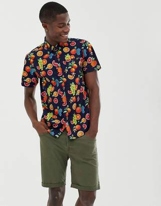Brave Soul fruity print short sleeve shirt-Navy