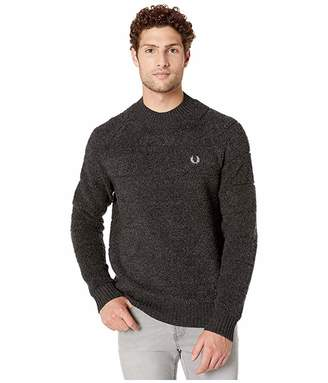 Fred Perry Textured Crew Neck Jumper (Anthracite Marl) Men's Clothing