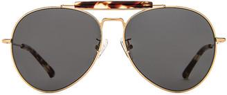 Dries Van Noten Aviator Sunglasses in Yellow Gold & Grey | FWRD