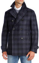 Isaia Plaid Wool Double-Breasted Pea Coat