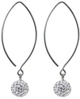 Sterling Silver Crystall Ball Earwire Earring - Clear