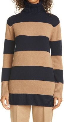 Max Mara Nastro Stripe Wool & Cashmere Turtleneck Sweater