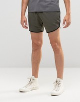 Asos Jersey Runner Shorts With Contrast Piping In Khaki
