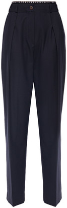 Victoria Victoria Beckham Monogram-trimmed Twill Tapered Pants