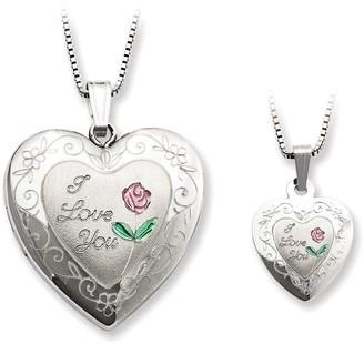 "Sterling ""I Love You"" Heart Locket & Child's Pendant Set"
