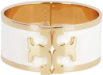 Tory Burch Enamel Brass Wide Bracelet With Logo