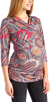 Glam Pink Paisley Ruched Maternity/Nursing Top