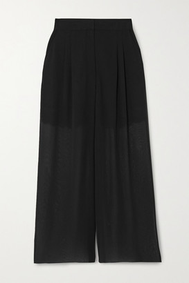 Fleur Du Mal Margo Lace-trimmed Silk-chiffon Wide-leg Pants - Black
