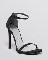 Stuart Weitzman Nudist High Heel Embossed Ankle Strap Sandals