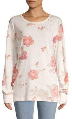 Free People Arielle Printed Cotton-Blend Tee