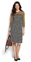 Lands' End Women's 3/4 Sleeve Ponté Shift Dress-Ivory Plaid