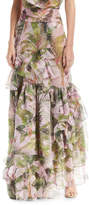 Johanna Ortiz Lala Salama Tropical-Print Maxi Skirt