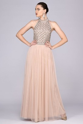 Gatsbylady London Angie Drop Waist Maxi Dress in Nude Blush