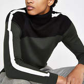 Mens Khaki slim fit block roll neck jumper