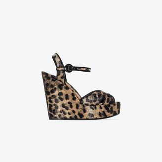 Dolce & Gabbana Gold 90 Leopard print wedges