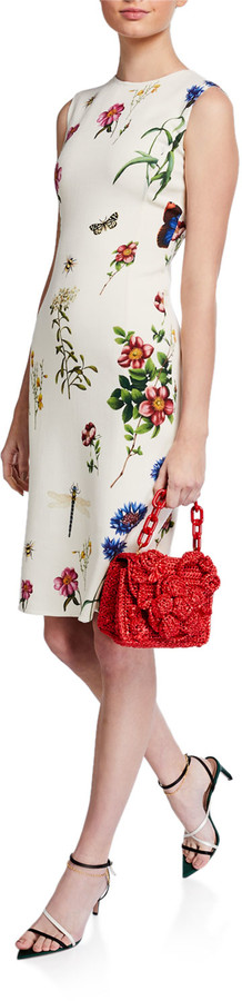 Oscar de la Renta Floral Print Midi Sheath Dress