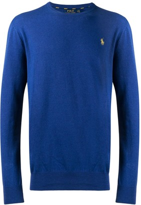 Polo Ralph Lauren Contrasting Embroidered Logo Knitted Jumper