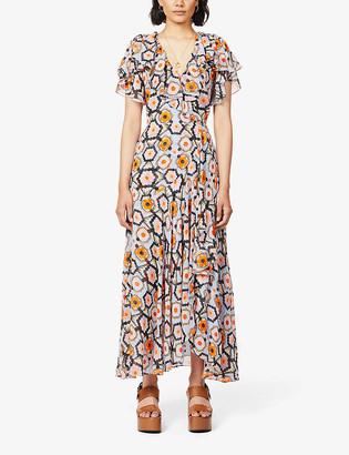 Temperley London Geometric-print silk-crepe maxi wrap dress