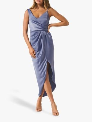 Forever New Hallie Draped Satin Midi Dress, Blue Charisma
