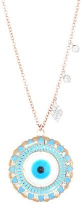 Meira T Evil Eye 14K Rose Gold, 14K White Gold & Diamond Pendant Necklace