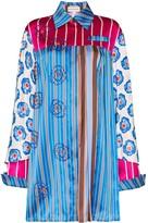 Shuting Qiu Oversized striped beaded circle shirt
