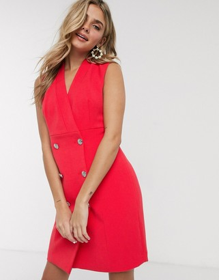 Morgan wrap front tuxedo dress in poppy coral