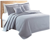 Sherry Kline Out of the Box 3-piece Embroidered Quilt Set, Light Gray,