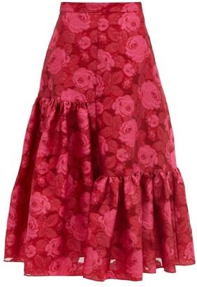 Erdem Gaura Floral Fil-coupe Organza Midi Skirt - Pink