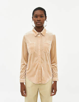 Farrow Women's Odelle Button Down Top in Shimmer Cream, Size Small | Spandex