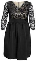 Eliza J Plus Size Women's Lace & Faille Dress