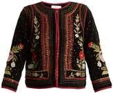 Velvet by Graham & Spencer Adara embellished floral-embroidered velvet jacket