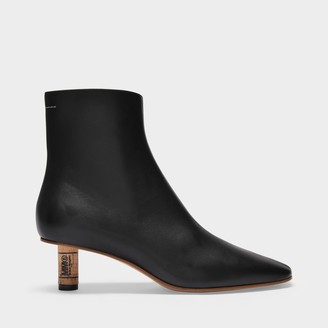 MM6 MAISON MARGIELA Ankle Boots In Black And Doe Brown Smooth Leather