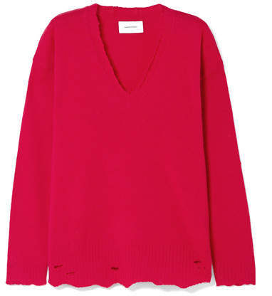 Current/Elliott Oversized Distressed Wool And Cashmere-blend Sweater - Red