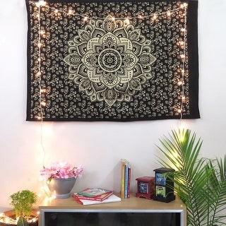 Oussum Boho Mandala Golden Print Cotton Wall Hanging Hippie Poster Tapestry