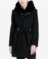 Calvin Klein Faux-Fur-Hood Asymmetrical Coat