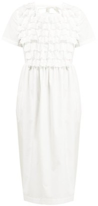 Comme des Garcons Ruffled Broderie Anglaise Cotton Poplin Dress - Womens - White