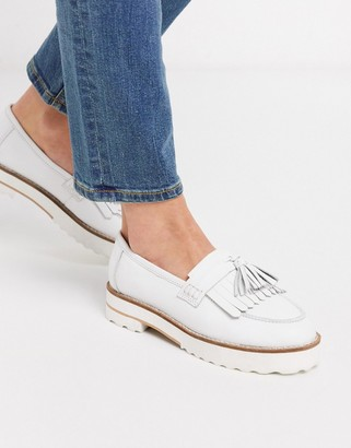 ASOS DESIGN Meze chunky fringed leather loafers in white