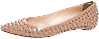 Christian Louboutin Beige Patent Leather Spike Pointed Toe Ballet Flats Size 38