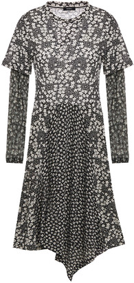 GOEN.J Asymmetric Floral-print Stretch-jersey And Tulle Dress