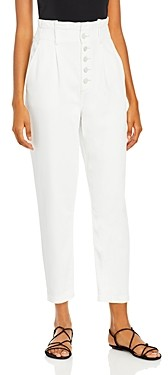 Paige Pleated Carrot Leg Jeans in White