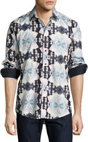 English Laundry Diamond-Print Sport Shirt, Navy