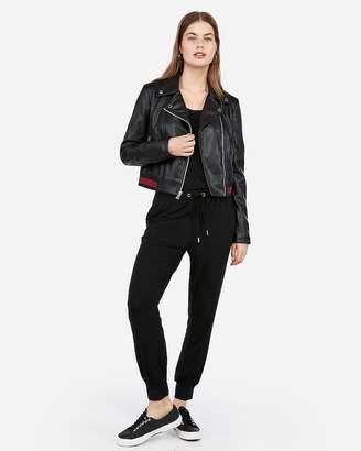 Express Vegan Leather Striped Hem Moto Jacket